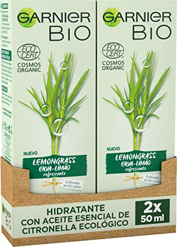 Garnier BIO Crema Hidratante Lemongrass Ecológico con Aloe Vera - Pack de 2 de 50 ml (Total: 100 ml)