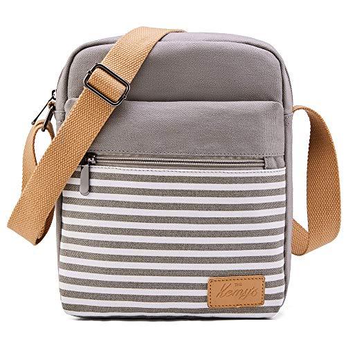 Kemy's Massager Bag JLMG8009R Grey Stripe Crossbody Purses for Teen Girls Tween Purses for Girls 10-12 Small Messenger Bags for Little Girls Purses Kids 9-10 Christmas Gifts