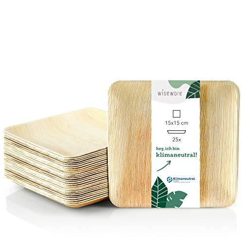 Wiseware Palmblatt Teller - 25 Stück Einwegteller quadratisch 15 x 15 cm - biologisch abbaubares Palmblattgeschirr - kompostierbares Partygeschirr - Bio Einweggeschirr (25, 15 x 15 cm)