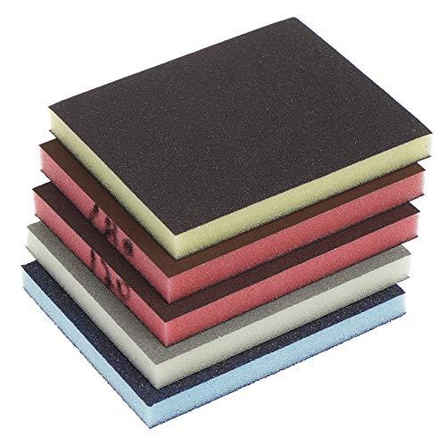 FYMIJJ Schleifpapier,2pcs 120-1000grit Polieren Schleifen Schwammblock Pad Schleifpapier Verschiedene Schleifwerkzeuge Zufällige Farbe 120 * 100 * 12mm, A4 600.800grit