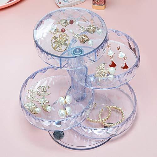 LTCTL Joyero Portátil con Diseño De Rombo Caja Organizadora De Joyas Pequeña Roja Caja De Joyería Giratoria De 4 Niveles De 360 Grados (Color : Clear)