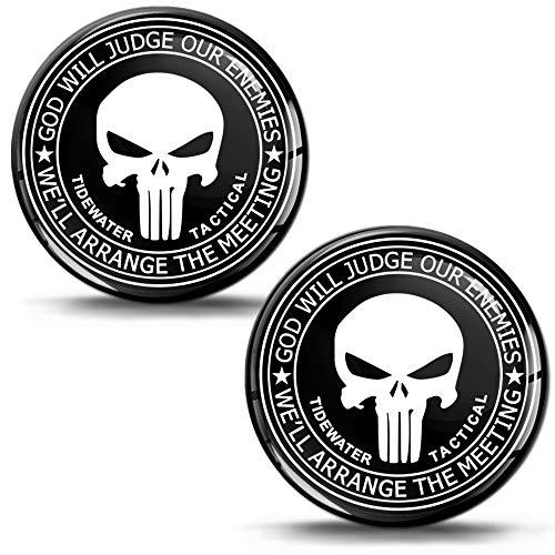 Biomar Labs® 2 x 3D Silicone Adesivi Teschio Punisher Tactical Skull Cranio per Auto Moto Stemma Tuning KS 117