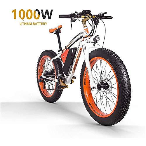 ZLZNX Fat Tire Electric Bike Mountain Bike 26'E-Bike avec Batterie Au Lithium 48v 16ah / 1000w Et VéLo éLectrique à Frein Hydraulique à Disque à Suspension ComplèTe à 21 Vitesses,Orange