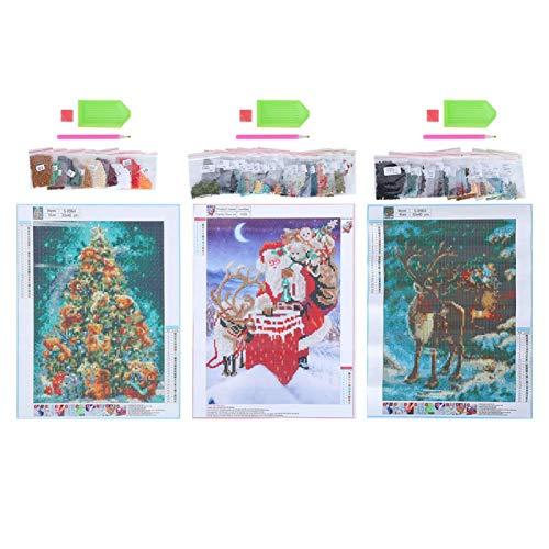 LIUTT Pintura de Diamante de Navidad -3 Unids/Set DIY Kits de Pintura de Diamante de Navidad Hechos a Mano Artesanía para la decoración de la Pared del hogar