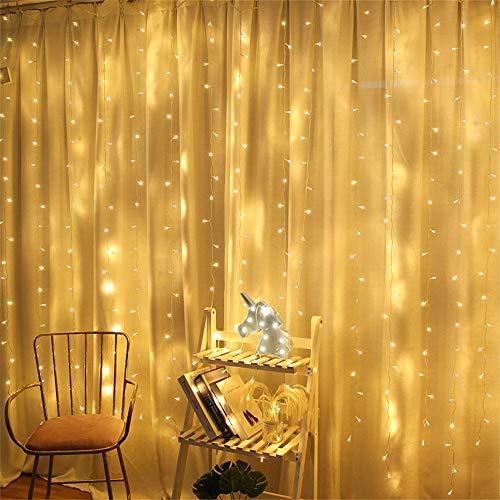 Luz de Cortina JINPX Luz Cadena Luces de Navidad con 300 LED 8 Modos 3*3M Blanca Cálida Perfecto para Fiestas,Bodas,Festivales,Presentaciones,Bares, Restaurantes, Hoteles, Conciertos