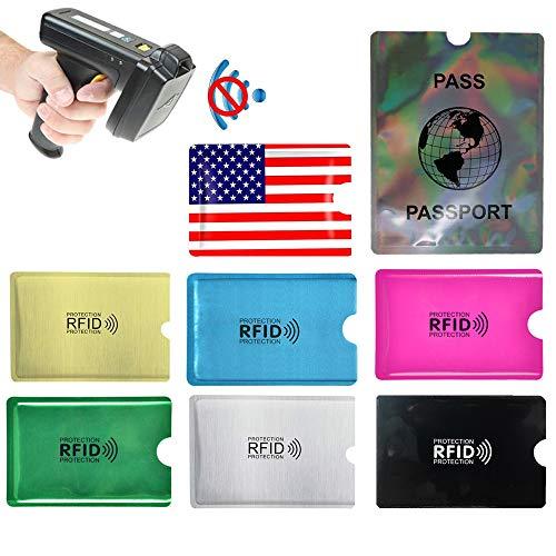 RFID Blocking Sleeves 44 PCS, Identity Theft Protection - Set of Credit Card Holders 40 PCS & Passport Protectors 4 PCS