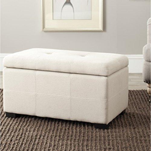 Safavieh Hudson Collection NoHo Sitzbank, Leder, klein, Braun Modern Small Taupe