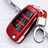 ontto Key Fob Cover Case Holder Carbon Fiber Texture TPU Keycase Keychian Keyring Full Protection for Audi A1 A3 A6 Q2 Q3 Q7 TT TTS R8 S3 S6 RS3 Flip Key Shell red