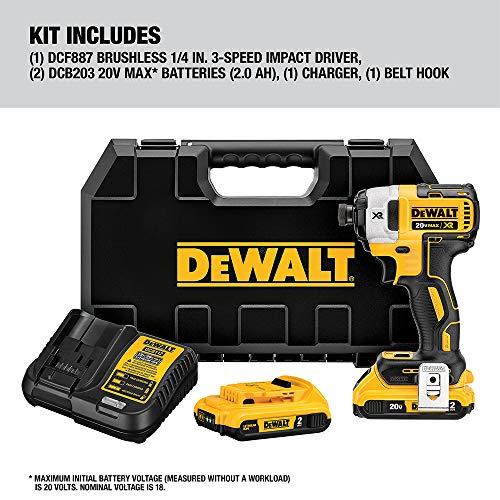 DEWALT 20V MAX XR Impact Driver Kit, Brushless, 3-Speed, 1/4-Inch, 2.0-Ah (DCF887D2)
