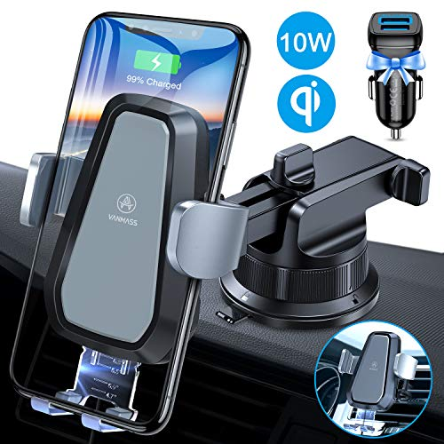 VANMASS Wireless Car Charger Mount, Automatic Clamping, 10W Qi Fast Charging, QC...