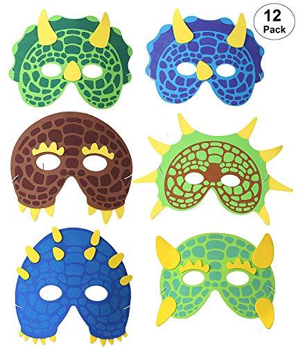 OOTSR 12 Piezas Máscaras de Dinosaurio para niños, máscaras de Espuma Suministros de Fiesta de Dinosaurio para Juegos de rol Fiesta de cumpleaños Bolsa de Fiesta de Halloween