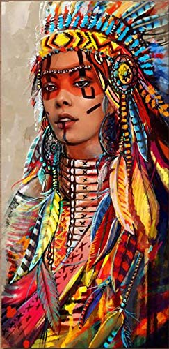 TOCARE DIY 5D Diamond Painting by Numbers Kits for Adults 16x31.5Inch Full Drill Large Diamond Embroidery Dotz Kit Home Wall Art Decor- Native American Indian Lady
