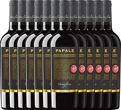 VINELLO 12er Weinpaket Primitivo - Papale Linea Oro Primitivo di Manduria 2017 - Varvaglione mit Weinausgießer   halbtrockener Rotwein   italienischer Wein aus Apulien   12 x 0,75 Liter