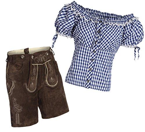 Gaudi-Leathers Conjunto de pantalones cortos de piel para mujer, color marrón oscuro + tirantes + blusa para traje regional, varios colores, marca azul y blanco a cuadros 48