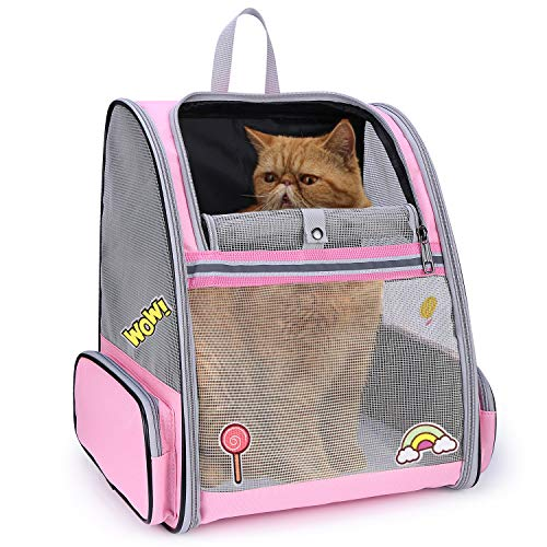 Lollimeow Pet Carrier Backpack for Dogs and Cats,Puppies,Fully Ventilated Mesh,Airline Approved,Designed for Travel, Hiking, Walking & Outdoor Use(Pink)