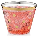 Perfect Settings 110 Clear Plastic Cups 9 Ounce- Holiday Wedding Party Elegant Gold Trimmed Disposable Cups - Pack of 110 Fancy Wedding Cups (Gold - Polka Dot)