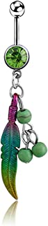 MENGDA Jeweled Feather with Simulated Turquoise Stone Beads Dangle Belly Ring