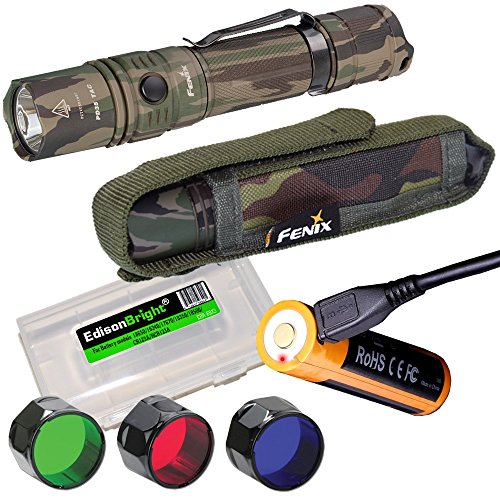 Fenix PD35 TAC CAMO 1000 Lumen CREE LED Tactical Flashlight, USB Rechargeable Battery, Holster, RED, Green, Blue Filters & EdisonBright Battery case Bundle for Hunting