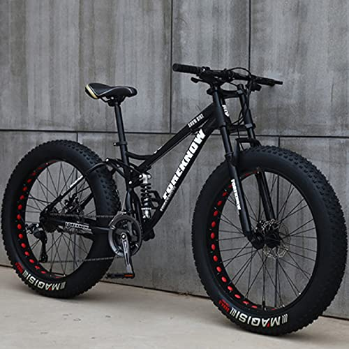 26 inch Mountain Bikes 24 Speed Bicycle Adult Men Women Fat Tire Mountain Trail Bike,High-Carbon Steel Frame with Dual Full Suspension Dual Disc Brake