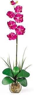 Nearly Natural 1104-BU Single Phalaenopsis Liquid Illusion Silk Flower Arrangement, Beauty