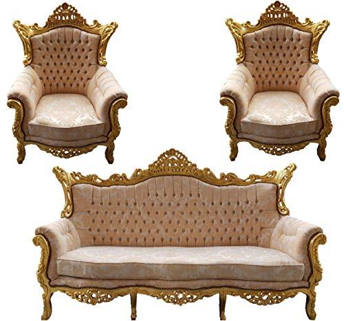 Casa Padrino Baroque Living Set Master Cream Velvet/Gold - 3er Sofa + 2 armchairs