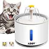 ADOV Cat Water Fountain, 2.4L Automatic Electric Flower Style Dispenser with LED Water Level Window and Replaceable Filter, Ultra Quiet Healthy and Hygienic Pet Drinking Bowl for Kitten, Dogs – Grey