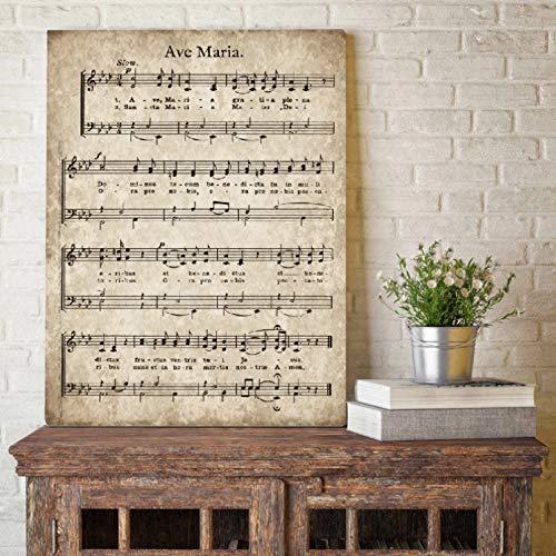Cuadros decorativos Partituras Póster Arte Impresión Himno Citas Inspiradoras Lienzo Pintura Cuadro Inicio Pared Decoración