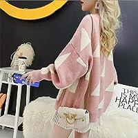 女性のセーターカーディガン固体フルスリーブの幾何ルースジョーカー初秋ニットジャケット yangain (Color : Pink, Size : One Size)