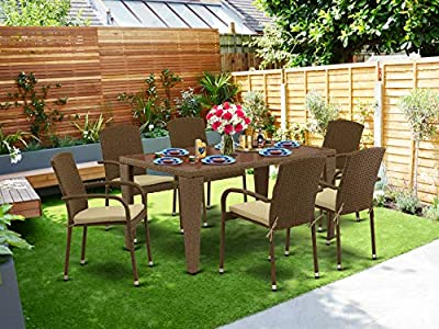 East West Furniture GUJU702A 7Pc Outdoor Brown Wicker Dining Set Includes a Patio Table and 6 Balcony Backyard Armchair with Linen Fabric Cushion