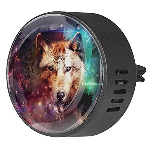 Difusor de coche para clips de ventilación de aceite esencial,Wolf Galaxy ,2 paquetes de ambientadores de aromaterapia de 40 mm