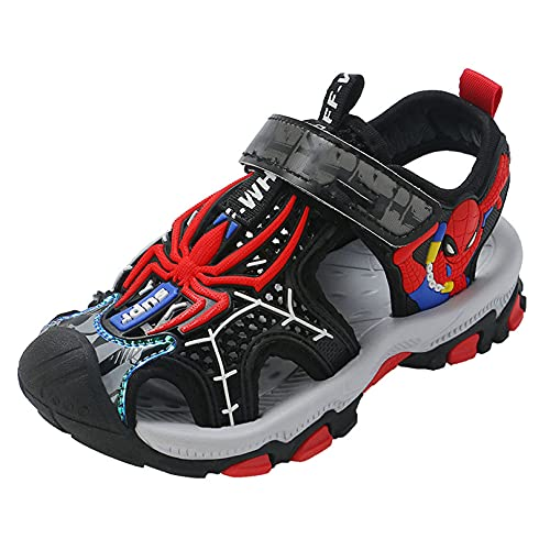 MODRYER Niños Cerrados Sandalias Sandalias Niños Spiderman Verano Playa Zapatos Sports Sports Sandalias Al Aire Libre Girls Travel Senderismo Entrenadores,Red-35/Inner Length 22.5cm