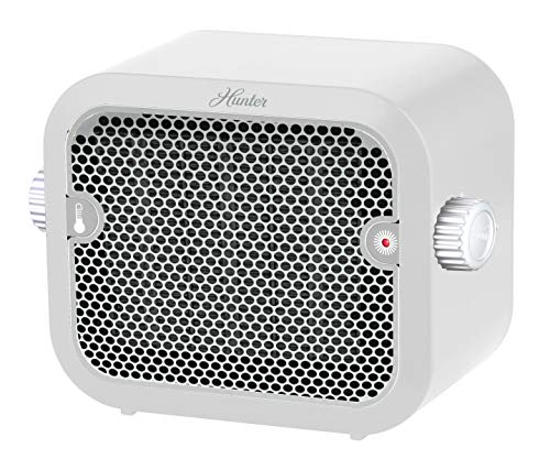 HUNTER 1,500-Watt Personal Ceramic Heater with Adjustable Thermostat, White