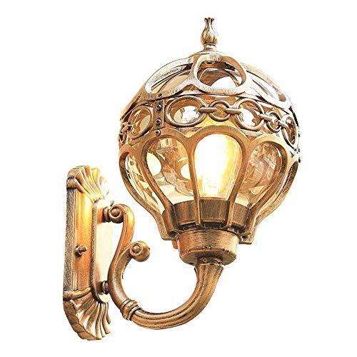 BJClight Lámpara de pared para interiores, linterna europea para exteriores, montaje en pared, luz, acabado en bronce frotado con aceite, aplique impermeable para exteriores vintage con globo