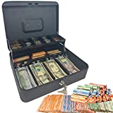 Cash Box with Money Tray and Lock - Safe Money Box Bundle Includes 100 Coin Wrappers - Secure Locking Cash Lock Box for Bills, Coins and Checks, Made by Budgetizer