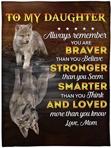NA Fleece Blanket You Are Braver Stronger Smarter Mom to Daughter 30X40 Inch Bed Throw Tapestry Blanket Gift for Fathers Day, Christmas, Thanksgiving, New Years, Papa, Son, Dad, Wife N4458