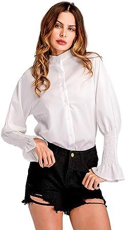 Cnsdy Camisas para Mujeres Camisas con Cuello en Manga Camisa ...