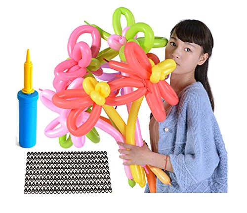 TECH-P 260Q Deluxe Magic Vapor Balloons - Holiday Party Twisty Latex Balloons - Pump & Animal Eye Stickers Included - Package of 200