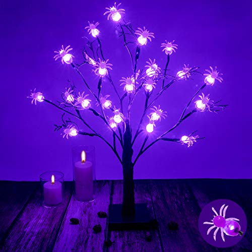 FUNARTY 24 LED Birch Tree Lights Halloween Bonsai Tree Light Artificial Night Light Table Tree Battery Operated with 24pcs Spiders for Home Wedding Festival Party Christmas Decoration