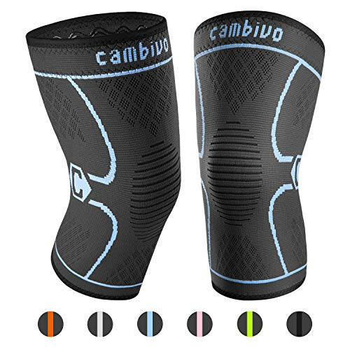 CAMBIVO 2 Pack Knee Brace, Knee Compression Sleeve Support for Running, Arthritis, ACL, Meniscus Tear, Sports, Joint Pain Relief and Injury Recovery Large (19 - 21 Inch), Black/Blue