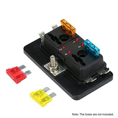 KKmoon Caja de Fusibles 4 Vías Portafusibles con Lampara de Alerta LED Kit para Coche Barco Marino Triciclo 12V 24V