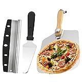Furado Pala Pizza,3 Piezas Set De Pala De Pizza, Pala De Aluminio Para Pizza Desmontable Con Cortapizzas De Acero Inoxidable Y Herramienta De Panadería Para Hornear Pizza, Pan, Galletas, Pasteles
