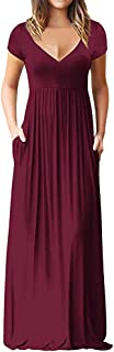 Women O Neck Short Sleeve Solid Long Dress ❀ Ladies Fashion Maxi Tank Long Dress Party Casual Maxi Dress