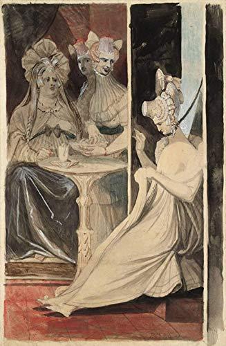 Pintura por número para adultos y kit de pintura para niños principiantes lienzo preimpreso sin marco-Johann Heinrich Füssli Pintura famosa El debutante