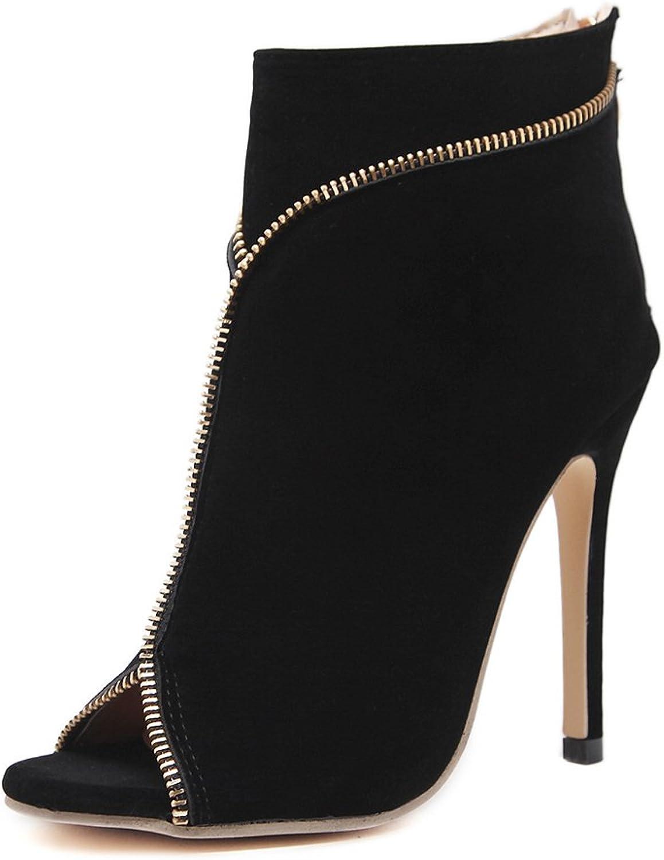 PLAN B Womens Fashion peep Toe Zipper high Heel Ankle Booties-(Black-40 9.5 B(M) US Women-Womens)