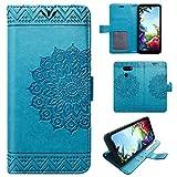 betterfon LG K40S Hülle Handy Tasche Handyhülle Etui Wallet Hülle Schutzhülle mit Magnetverschluss/Kartenfächer für LG K40S Mandala Blau