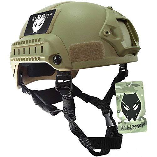 ATAIRSOFT WorldShopping4U Mich 2001 Stil Kampf Schutz Helm mit Seite Schiene & NVG Reittier (DE) für Airsoft Taktisch Militär Paintball Jagd