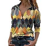 Primavera Señoras Camisa Suelta V-Cuello Blusa Cremalleras Impresión Mujer Ropa Señora