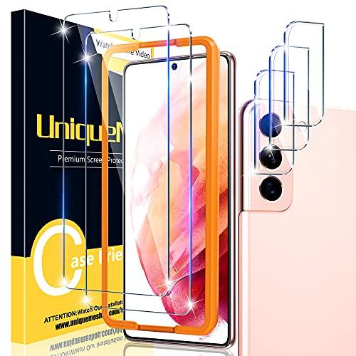 UniqueMe [2+3 Stück] Schutzfolie Kompatibel mit Samsung Galaxy S21 Folie, und Kamera Panzerglas Displayschutzfolie Samsung Galaxy S21 [9H Härte] Gehärtetem Glas HD Panzerglas Kratzen, Blasenfrei.