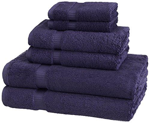 Pinzon - Toallas de algodón mixto y orgánico, Juego de 6 piezas, Azul marino ✅