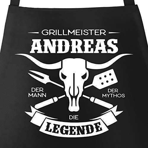 MoonWorks® Grill-Schürze für Männer mit Spruch personalisierbar Grillmeister eigener Name die Legende Grillen Geschenk Baumwoll-Schürze Küchenschürze schwarz Unisize